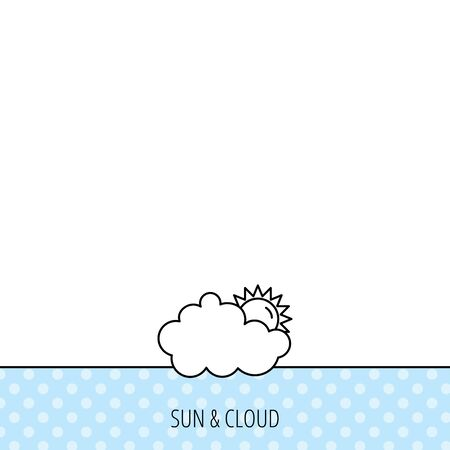 overcast: Sunny day icon. Summer sign. Overcast weather symbol. Circles seamless pattern. Background with icon. Vector