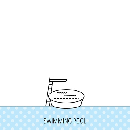 jumping into water: Swimming pool icon. Jumping into water sign. Circles seamless pattern. Background with icon. Vector Illustration