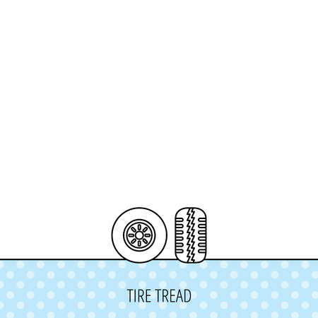 tread: Tire tread icon. Car wheel sign. Circles seamless pattern. Background with icon. Vector