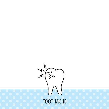 toothache: Toothache icon. Dental healthcare sign. Circles seamless pattern. Background with icon. Vector Illustration