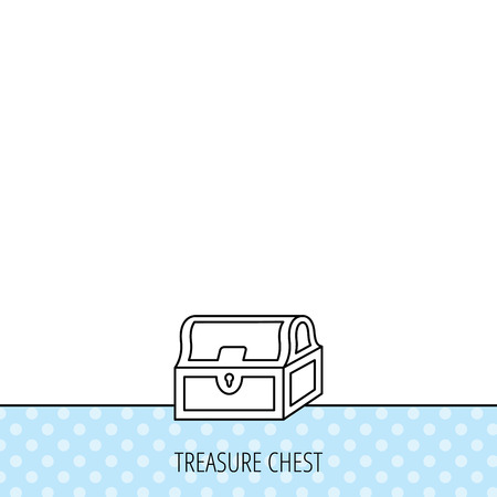 treasury: Treasure chest icon. Piratic treasury sign. Wealth symbol. Circles seamless pattern. Background with icon. Vector Illustration