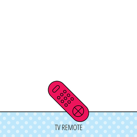 channels: Remote control icon. TV switching channels sign. Circles seamless pattern. Background with red icon. Vector Illustration