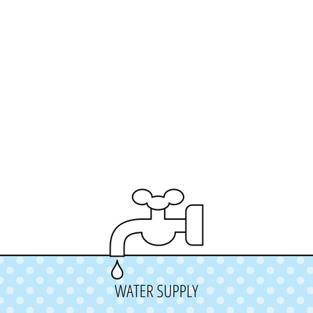 waterworks: Water supply icon. Crane or Faucet with drop sign. Circles seamless pattern. Background with icon. Vector