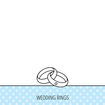 Wedding rings icon. Bride and groom jewelery sign. Circles seamless pattern. Background with icon. Vector Ilustracja