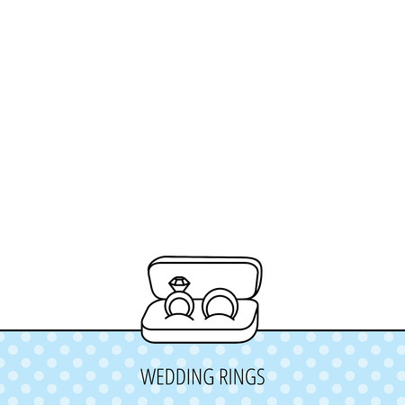 diamond rings: Wedding rings icon. Jewelry with diamond sign. Marriage symbol. Circles seamless pattern. Background with icon. Vector Illustration