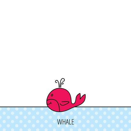 baleen whale: Icono de la ballena. Mayor signo animales mam�feros. Ballena con el s�mbolo de fuente. C�rculos sin patr�n. Fondo con el icono rojo. Vector