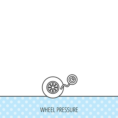flaring: Wheel pressure icon. Tire service sign. Circles seamless pattern. Background with icon. Vector Illustration