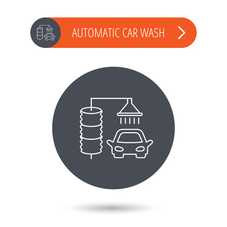 operated: Automatic carwash icon. Cleaning station sign. Gray flat circle button. Orange button with arrow. Vector