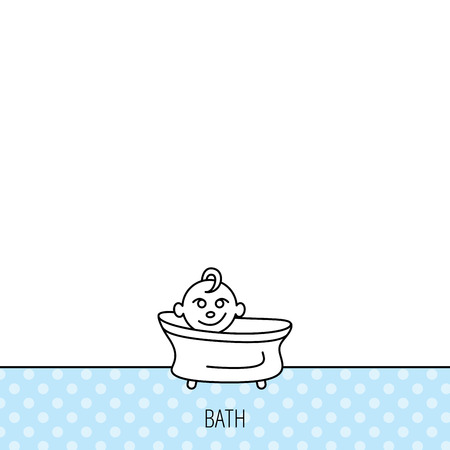 washing symbol: Baby in bath icon. Toddler bathing sign. Newborn washing symbol. Circles seamless pattern. Background with icon. Vector