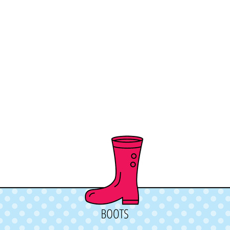 waterproof: Boots icon. Garden rubber shoes sign. Waterproof wear symbol. Circles seamless pattern. Background with red icon. Vector