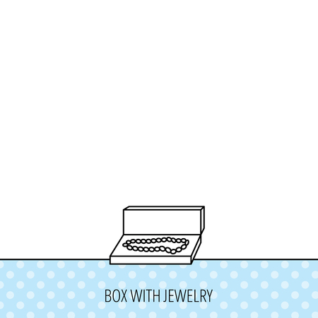 jewellery box: Jewellery box icon. Luxury precious sign. Circles seamless pattern. Background with icon. Vector