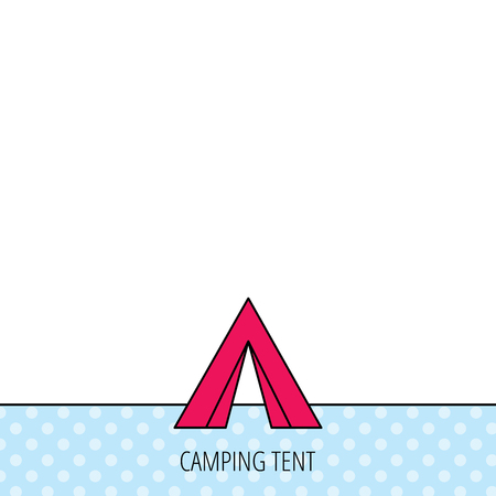 hike: Tourist tent icon. Camping travel hike sign. Circles seamless pattern. Background with red icon. Vector