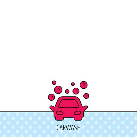 car pattern: Car wash icon. Cleaning station sign. Foam bubbles symbol. Circles seamless pattern. Background with red icon. Vector