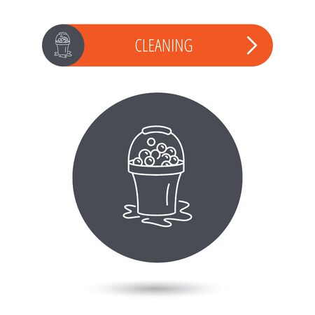 soapy: Soapy cleaning icon. Bucket with foam and bubbles sign. Gray flat circle button. Orange button with arrow. Vector Vectores