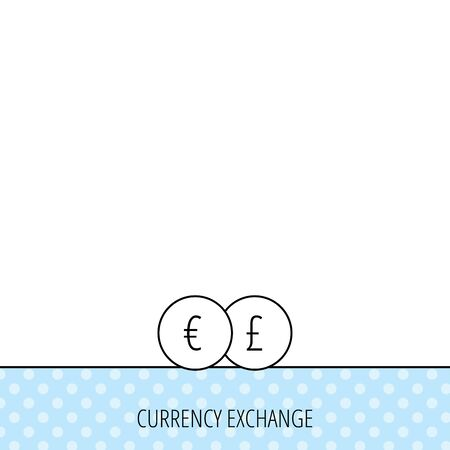 pound symbol: Currency exchange icon. Banking transfer sign. Euro to Pound symbol. Circles seamless pattern. Background with icon. Vector Illustration