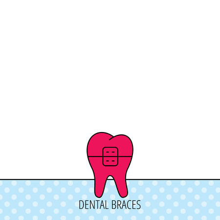 dental braces: Dental braces icon. Tooth healthcare sign. Orthodontic symbol. Circles seamless pattern. Background with red icon. Vector