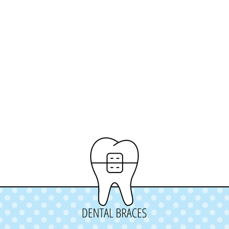 staples: Dental braces icon. Tooth healthcare sign. Orthodontic symbol. Circles seamless pattern. Background with icon. Vector Illustration