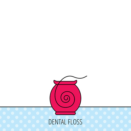 oral hygiene: Dental floss icon. Teeth cleaning sign. Oral hygiene symbol. Circles seamless pattern. Background with red icon. Vector