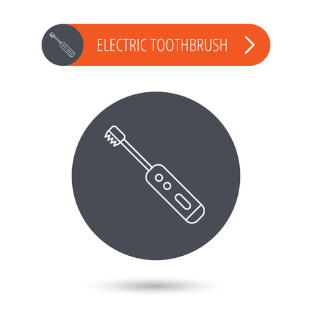tooth cleaning: Electric toothbrush icon. Tooth cleaning sign. Gray flat circle button. Orange button with arrow. Vector
