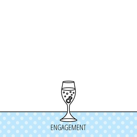 champagne glasses: Glass with ring icon. Engagement symbol. Circles seamless pattern. Background with icon. Vector Illustration