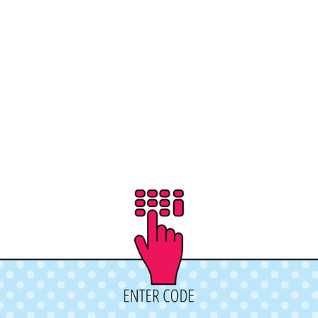 pin code: Enter pin code icon. Click hand pointer sign. Circles seamless pattern. Background with red icon. Vector