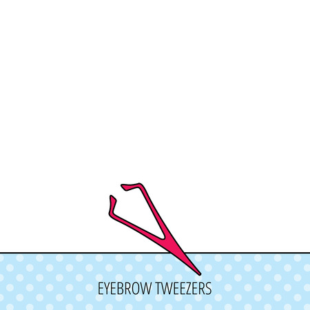 aesthetic: Eyebrow tweezers icon. Cosmetic equipment sign. Aesthetic beauty symbol. Circles seamless pattern. Background with red icon. Vector Illustration