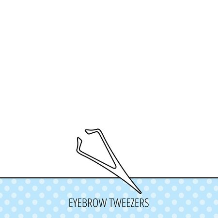 aesthetic: Eyebrow tweezers icon. Cosmetic equipment sign. Aesthetic beauty symbol. Circles seamless pattern. Background with icon. Vector