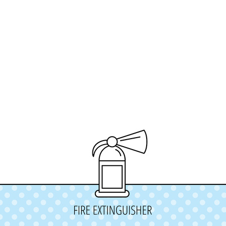 inflammable: Fire extinguisher icon. Flame protection sign. Circles seamless pattern. Background with icon. Vector
