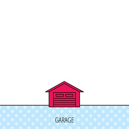 parking garage: Auto garage icon. Transport parking sign. Circles seamless pattern. Background with red icon. Vector