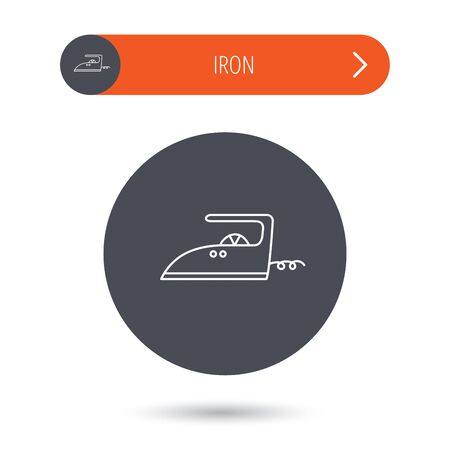 flat iron: Iron icon. Ironing housework sign. Laundry service symbol. Gray flat circle button. Orange button with arrow. Vector