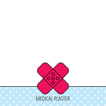 Medical plaster icon. Injury fix sign. Circles seamless pattern. Background with red icon. Vector