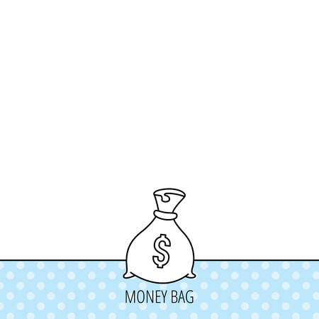 burlap bag: Sack with dollars icon. Money bag sign. Banking symbol. Circles seamless pattern. Background with icon. Vector