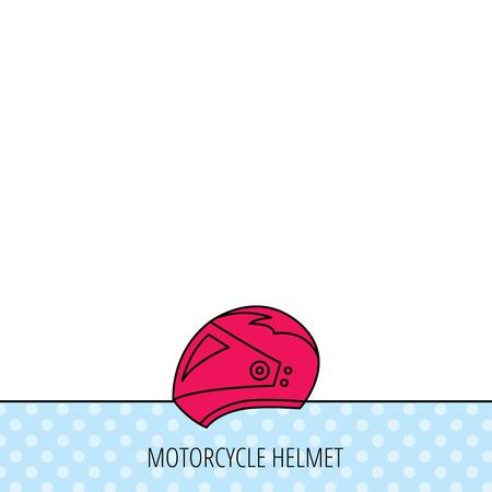 motorradhelm: Motorrad-Helm-Symbol. Biking Sport-Zeichen. Circles seamless pattern. Hintergrund mit roten Symbol. Vector Illustration
