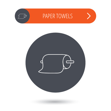 towels: Paper towels icon. Kitchen hygiene sign. Gray flat circle button. Orange button with arrow. Vector