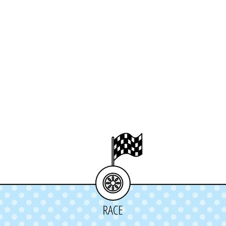 racing sign: Race icon. Wheel with racing flag sign. Circles seamless pattern. Background with icon. Vector Illustration