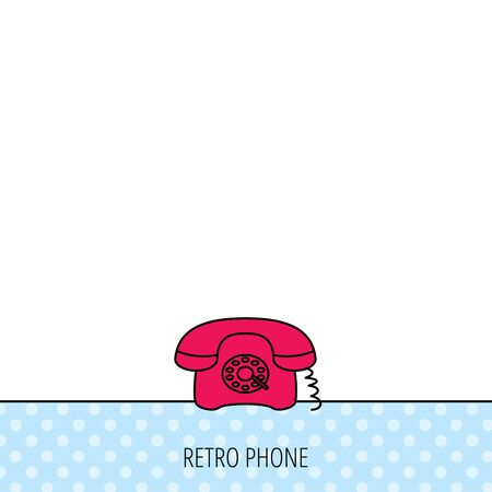 old telephone: Retro phone icon. Old telephone sign. Circles seamless pattern. Background with red icon. Vector