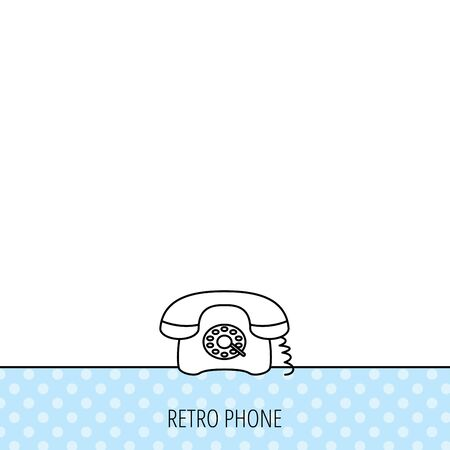 old telephone: Retro phone icon. Old telephone sign. Circles seamless pattern. Background with icon. Vector