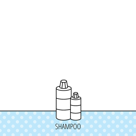 shampoo bottles: Shampoo bottles icon. Liquid soap sign. Circles seamless pattern. Background with icon. Vector