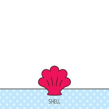mollusk: Sea shell icon. Seashell sign. Mollusk shell symbol. Circles seamless pattern. Background with red icon. Vector Illustration