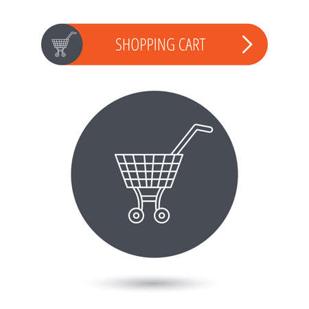 dealings: Shopping cart icon. Market buying sign. Gray flat circle button. Orange button with arrow. Vector Illustration