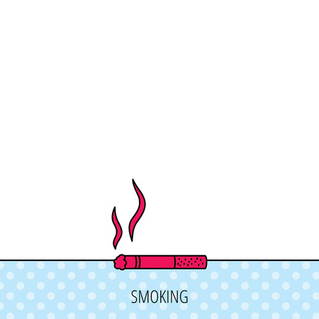 smoking place: Smoking allowed icon. Yes smoke sign. Circles seamless pattern. Background with red icon. Vector Illustration