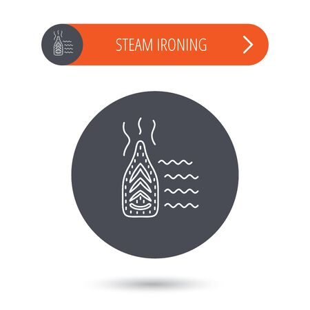 steam iron: Steam ironing icon. Iron housework tool sign. Gray flat circle button. Orange button with arrow. Vector
