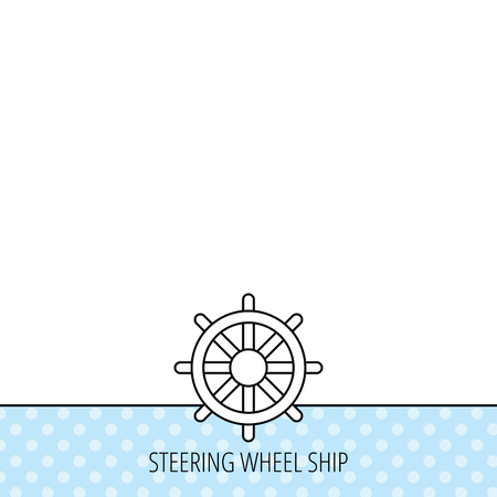 rudder ship: Ship steering wheel icon. Captain rudder sign. Sailing symbol. Circles seamless pattern. Background with icon. Vector Illustration