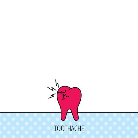 toothache: Toothache icon. Dental healthcare sign. Circles seamless pattern. Background with red icon. Vector
