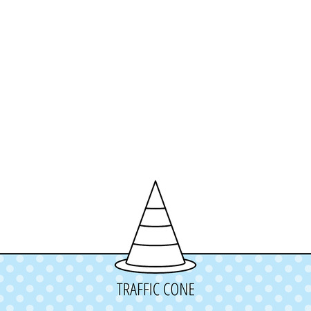 road warning sign: Traffic cone icon. Road warning sign. Circles seamless pattern. Background with icon. Vector
