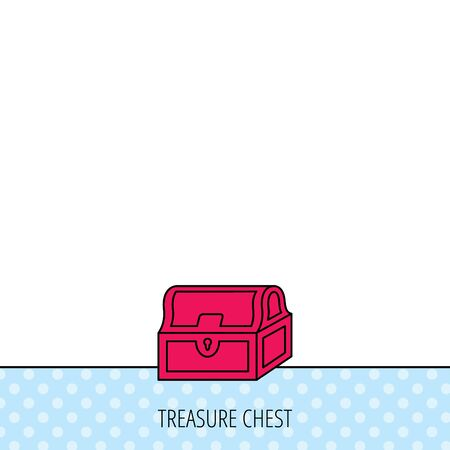 treasury: Treasure chest icon. Piratic treasury sign. Wealth symbol. Circles seamless pattern. Background with red icon. Vector