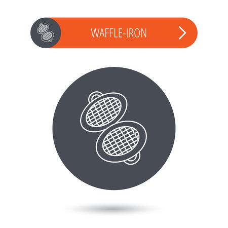 flat iron: Waffle iron icon. Kitchen baking tool sign. Gray flat circle button. Orange button with arrow. Vector Illustration
