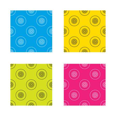 car tire: Car wheel icon. Tire service sign. Textures with icon. Seamless patterns set. Vector