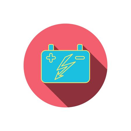 emitter: Accumulator icon. Electrical battery sign. Red flat circle button. Linear icon with shadow. Vector Illustration
