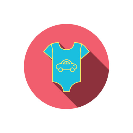 tot: Newborn clothes icon. Baby shirt wear sign. Car symbol. Red flat circle button. Linear icon with shadow. Vector